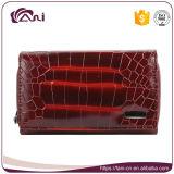 De zwarte Rode Portefeuille van de Vrouw van het Leer van de Huid van de Krokodil Kleine Echte