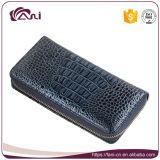 Carpeta azul de la importación del estilo de la cremallera del cuero genuino de la piel del cocodrilo del color