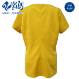 金黄色く短い袖の後部ジッパーのV襟足の方法女性夏のブラウス