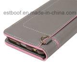 Cassa di cuoio del telefono mobile con la cinghia di spalla, fessura per carta noma