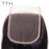 高品質9Aの等級のバージンのRemyのブラジルの毛、3部分4X4のまっすぐなレースの閉鎖(TFH18)