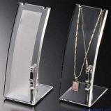 Étalage acrylique clair fait sur commande de bijou de bijou de collier