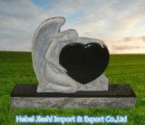 Shanxi granito preto com coração Headstone Hand-Carved Anjo