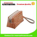 Sacchetto arancione e bianco di trucco del PVC della banda con la maniglia