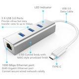 3-Port USB-C al mozzo portatile di alluminio di dati del USB 3.0 con l'adattatore di lan di Ethernet RJ45