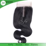 Hochwertiges Menschenhaar-malaysisches menschliches Jungfrau-Haar-Schliessen