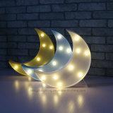 Luz caliente de la noche del blanco 8LEDs de la dimensión de una variable de la luna de los niños