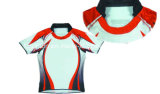 Sublimated em volta do rugby Jersey da garganta