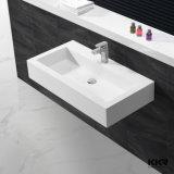 Lavabo en pierre acrylique bon marché de main de salle de bains de la Chine