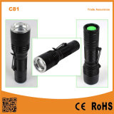 C81 mini portátil Zoom LED Linterna antorcha con Clip plumas