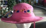 方法ピンクの刺繍の大きい縁釣帽子