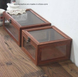 Старый цветной сосновой подарочная упаковка с верхней стеклянной крышки для украшения