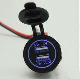 二重USB車のタバコのライターのソケット12Vの充電器力のアダプターのアウトレットの携帯電話の充電器
