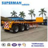 40feet 3 차축 트랙터 평상형 트레일러 대형 트럭 반 실용적인 트레일러