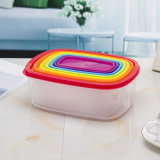 Fechadura e bolsas de tamanho de vários alimentos de armazenamento de recipientes com tampas de arco-íris