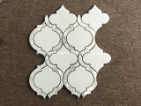Waterjet花デザイン白い大理石のモザイク・タイル