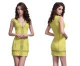 Глубокого платья v безрукавный короткого сексуальное шнурка платье прямо прямое