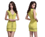 Tiefes v-Sleeveless kurzes Kleid-reizvolles Spitze-gerade gerades Kleid