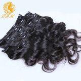 Onda de agua humano 120g de pelo clip en las extensiones del pelo humano de la onda brasileña Virgen clip en extensiones de pelo de cabello humano