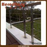 Barandilla de la escalera del acero inoxidable del montaje del suelo para la escalera (SJ-S110)