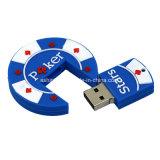 Movimentação do flash do USB do PVC da memória Flash do USB das estrelas do póquer do OEM