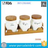 Coperchio di bambù del vaso di ceramica della scatola metallica dello zucchero del caffè del tè con il cassetto