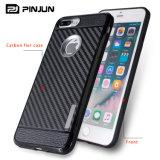 Caso de la cubierta del teléfono de la fibra TPU del carbón para el iPhone 7 más