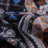 Style national Impression colorée Oversize Pashmina Coton Polyester Poncho Shawl Echarpe