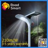 luz de rua solar Integrated do diodo emissor de luz do sensor de movimento 210lm/W