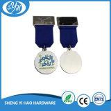 Medalla de esmalte suave de acabado de plata brillante de encargo
