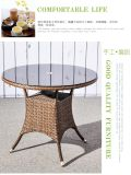 Tabela e cadeiras de vime de jantar do jardim ao ar livre moderno do Rattan da mobília do lazer