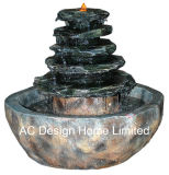 Indicatore luminoso esterno della fontana di acqua del giardino di Polyresin di sguardo di pietra antico W/LED
