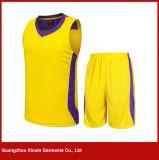 Kundenspezifische kurze Hülsen-schnell trockene gelbe Sport-Abnützung für Fußball-Team (T23)