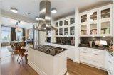 Gabinete de cozinha branco Yb-1706007 da madeira contínua do abanador do projeto 2017 novo