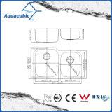 스테인리스 두 배 사발 부엌 개수대 (ACS3210M-R/L)