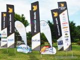 Evento esterno che fa pubblicità alla bandierina di spiaggia di rettangolo di colore completo con la bandiera su ordinazione