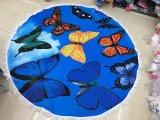 Serviette de plage ronde Papillon 100 % imprimé