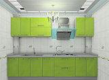 Cabina de cocina de madera del MDF de la laca verde moderna