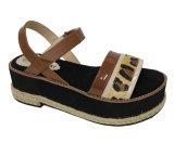 Сандалии женщин ЕВА Outsole кожаный ботинка повелительницы Леопарда толщиные