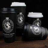 熱い販売のカスタムペーパーロゴデザインふたが付いている飲むコーヒーカップ
