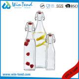クリップふたが付いている商業レストラン1Lのガラスビンの瓶
