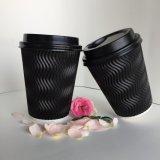 Tazas al por mayor del papel de empapelar de la ondulación, tazas de consumición calientes del papel de empapelar de la ondulación