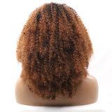 Dlme Brown verworrene lockige Spitze-Vorderseite Syntheic Haar-Perücke