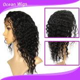 100%の人間のバージンのRemyのマレーシアの毛のかつら14inchの深い波のレースの前部かつら