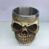 Caneca do copo do crânio de Halloween para o vinho da cerveja do café, o aço inoxidável e a resina