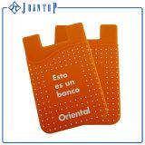 Portatarjetas promocional de la etiqueta engomada de la parte posterior del teléfono de la carpeta del silicón
