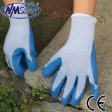 Werkende Handschoen van de Veiligheid van het Latex van Nmsafety de Blauwe Kreuk Met een laag bedekte