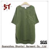 カスタム安い偶然の円形の首の不足分の袖の女性Tシャツ
