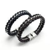Juwelen van de Armband van het Roestvrij staal van het Leer van de manier de Met de hand gemaakte Echte Punk