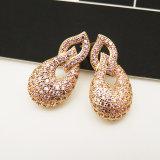형식 다이아몬드 보석 금에 의하여 도금되는 귀걸이 여자 장식 못